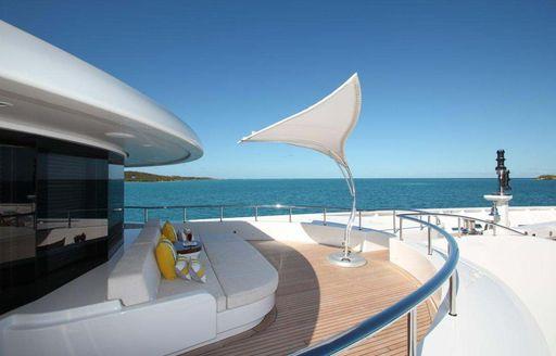 foredeck on luxury yacht amaryllis with portuguese bridge seating