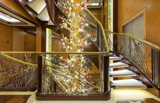 Beautiful staircase design feature on board superyacht SOLANDGE
