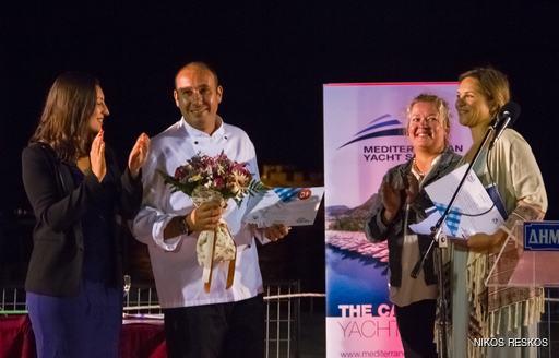 Motor yacht ANCALLIA accepting their award at the Mediterranean Yacht Show 2016