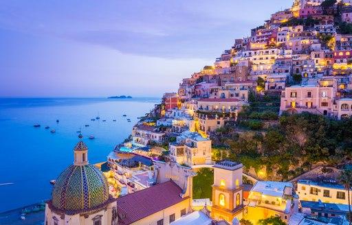 Positano at dusk on the Amalfi Coast in Italy