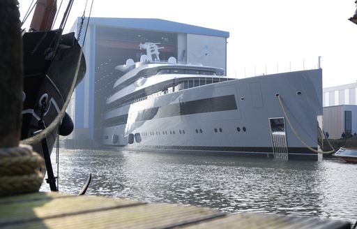 superyacht moonrise emerges from construction shed