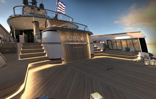 the bright and airy beach club on superyacht GECO looking up towards the upper decks