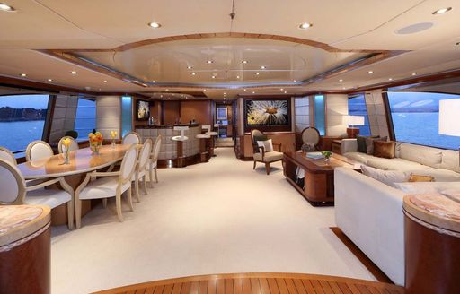light and airy skylounge on board luxury yacht JAGUAR