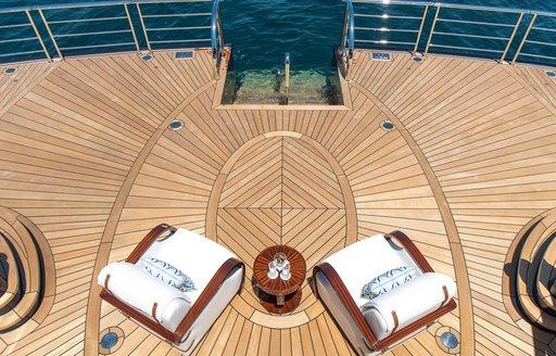 Luxury yacht TIS swim platform as seen from above