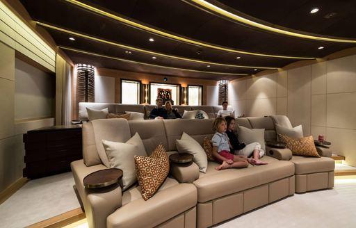 Cinema room on board luxury yacht Here Comes the Sun