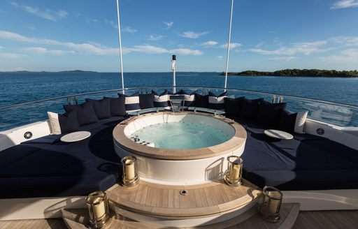 A Jacuzzi on a superyacht looking out across the water