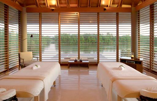 Two beds in the Amanyara Spa in Turks & Caicos