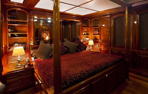 four poster bed in master suite of superyacht STEEL