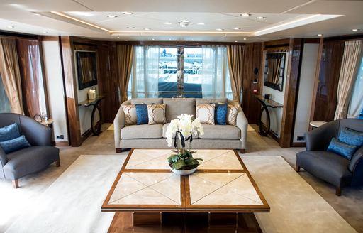 tranquil main salon aboard superyacht Princess AVK