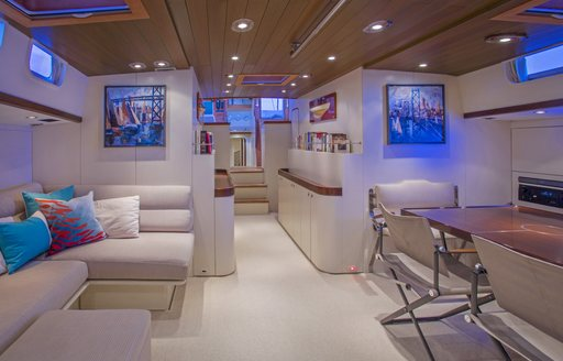 light, airy and contemporary main salon aboard superyacht JUPITER