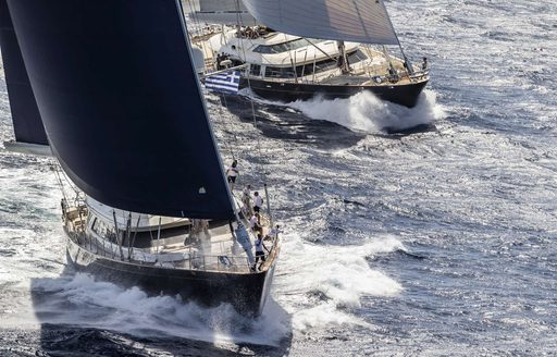 yachts cut through the waters of Sardinia during the Perini Navi Cup 2018