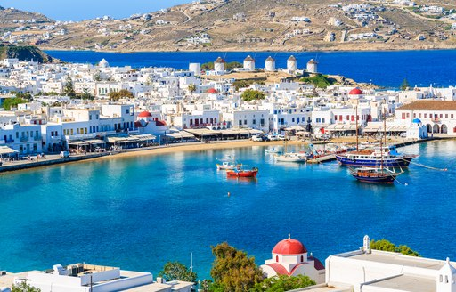 Stunning Mykonos shore in Greece