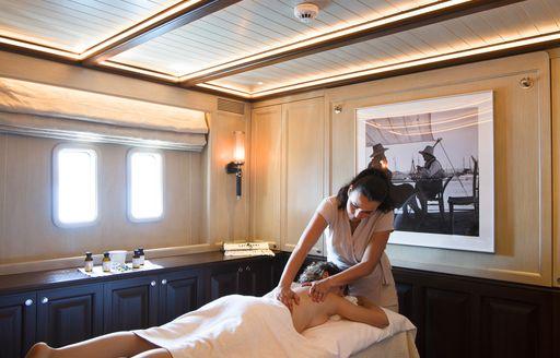 Massage cabin onboard SY Satori