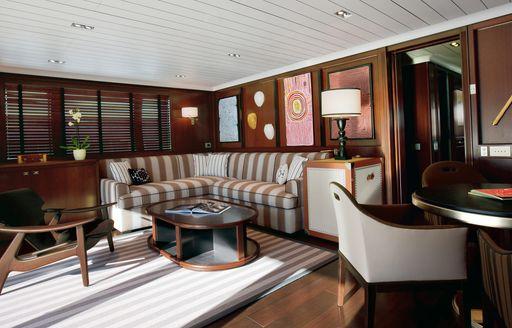 seating area on board superyacht galileo g