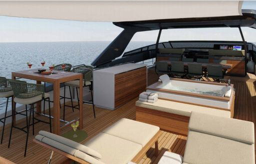 noor luxury yacht flybridge with jacuzzi and dining