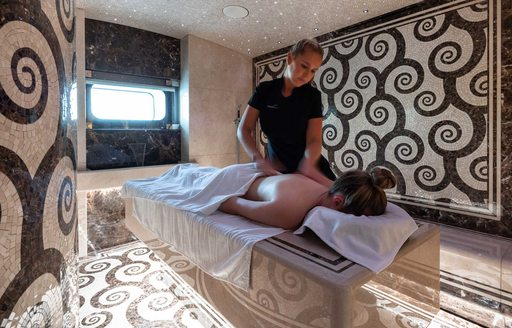 Massage cabin onboard MY Lana