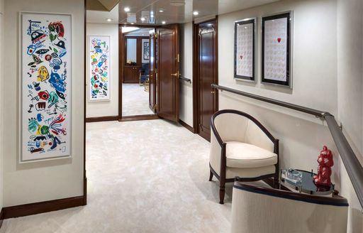 Lightly decorated corridor on Superyacht CHAKRA