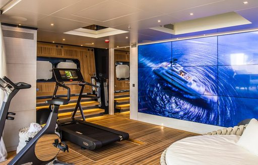 Beach club video wall and gym onboard MY Severin's