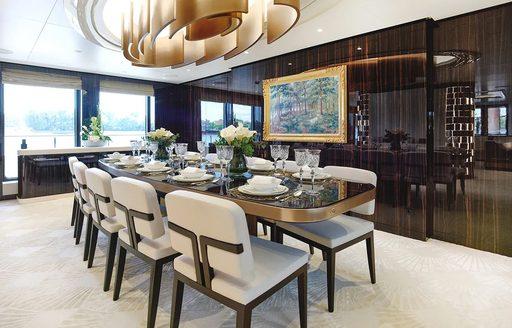 dining salon on luxury yacht soaring