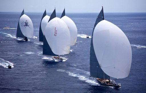 superyachts battle it out for the winning place at 2013's America's Cup Superyacht Regatta