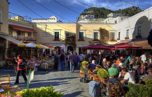 busy square in Capri Town, Capri, Italy