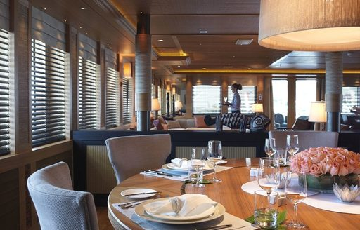 dining arrangement on yacht naia
