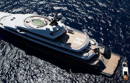 Phoenix 2 yacht underway aerial shot