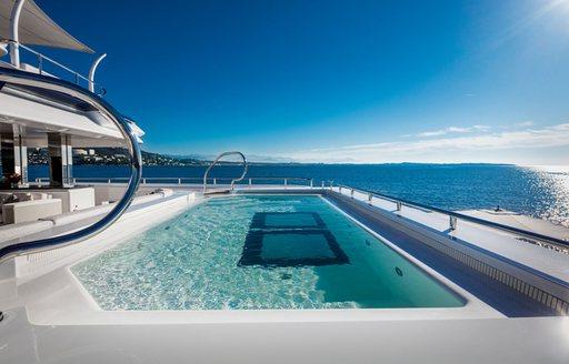 luxury pool with glass segments on superyacht lady jorgia