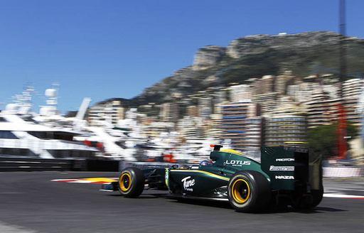 car on the circuit at monaco grand prix