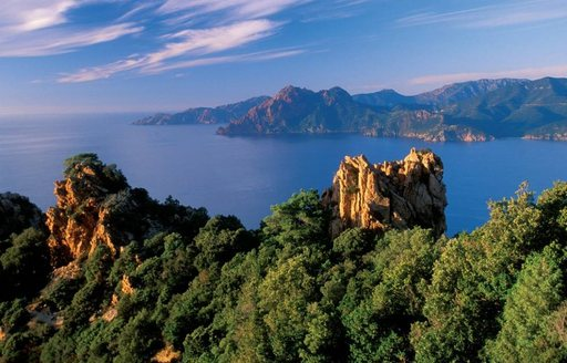 limestone rock formations of Scandola National Park in Corisca