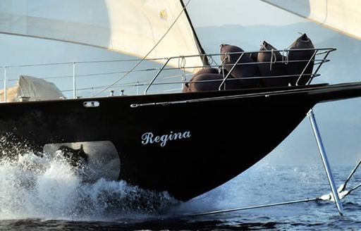 The bow of charter yacht REGINA