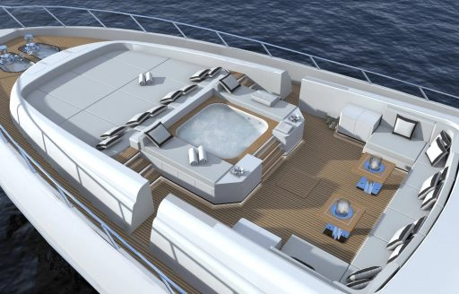 Forward lounge and Jacuzzi of yacht AAA