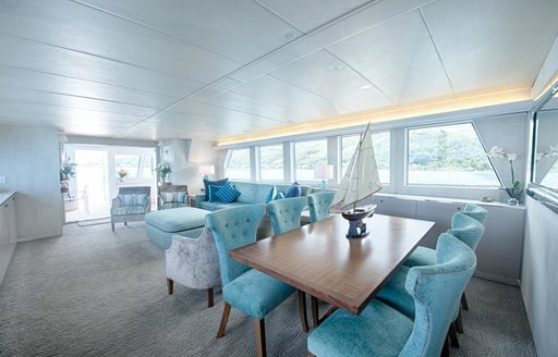 interior dining on main deck of luxury yacht DREAMTIME
