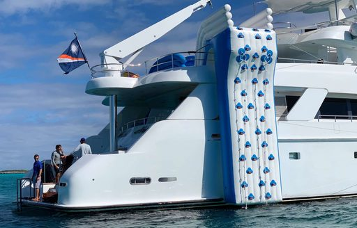 gigantic climbing wall on motor yacht island heiress