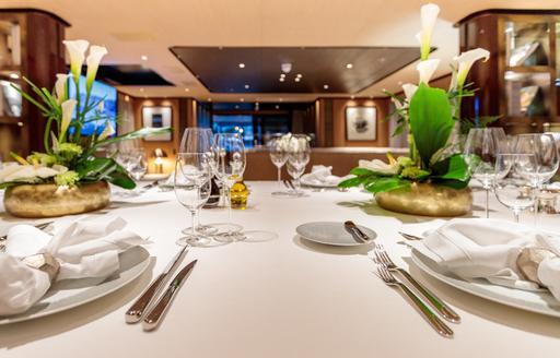 Formal dining onboard MY Vertige