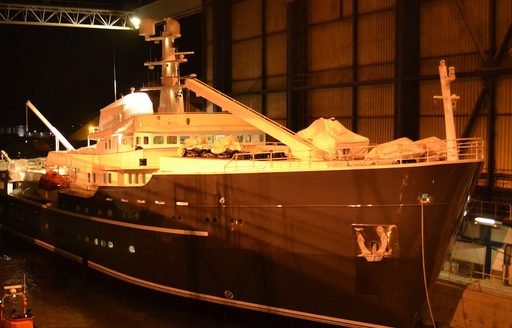 luxury yacht LEGEND preparing to launch at Icon Yachts shipyard