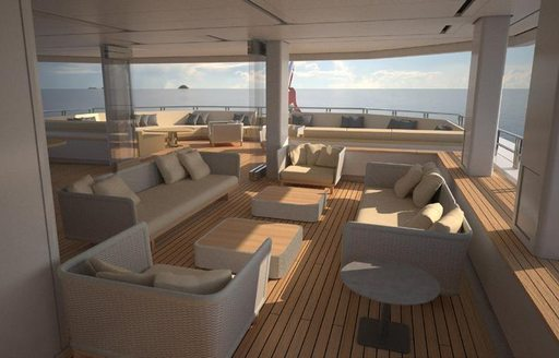 The exterior seating featured on board superyacht CLOUDBREAK