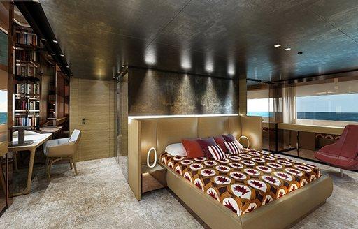 Japanese-inspired master suite on board superyacht TAKARA