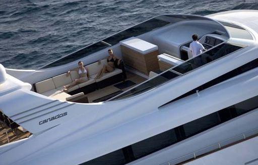 Spacious flybridge on motor yacht Bertona III