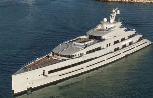 benetti superyacht fb 277 on the water after being launched, aerial shot