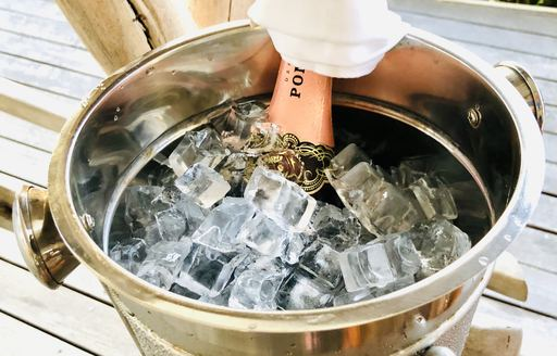 champagne in ice bucket on thanda island