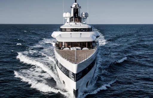 Charter yacht Lady S cutting sharply through the water while underway