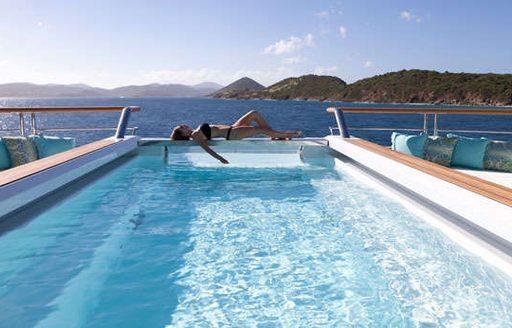 Swimming pool on board superyacht SOLANDGE