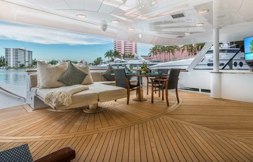 Seating area on luxury yacht CLAIRE