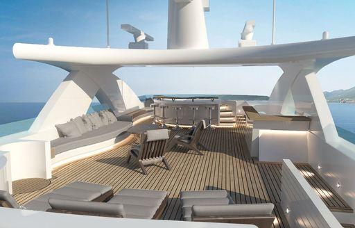 Sundeck area onboard MY Xana