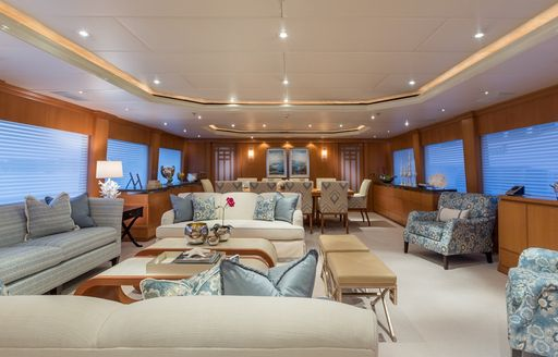 Motor yacht FOUR WISHES's main salon after refit