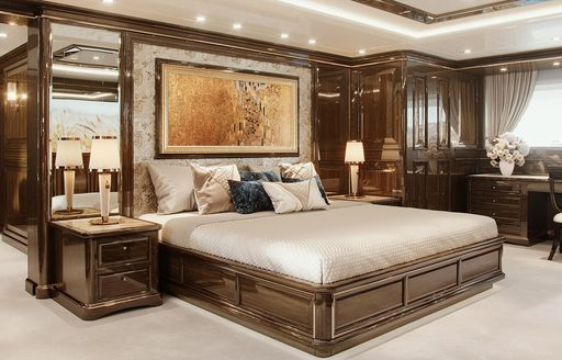 master cabin on board luxury yacht lady lena