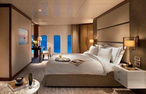 stylish master suite on board luxury yacht Orient Star