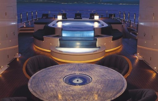 The exterior Jacuzzi included on superyacht 'Lady Lola'