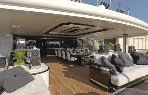 upper deck aft aboard charter yacht Silver Angel equipped for lounging and dining